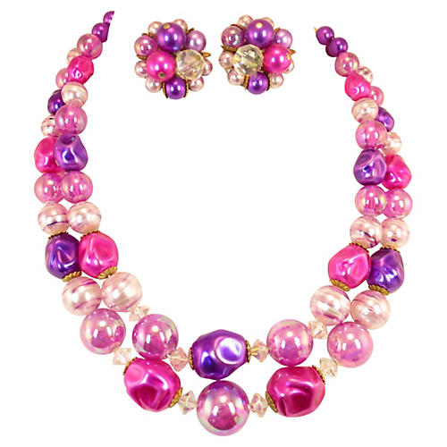 Purple & Rose Bead Necklace Suite