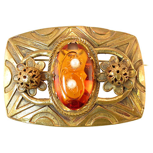 Victorian Etched Amber & Pearl Brooch