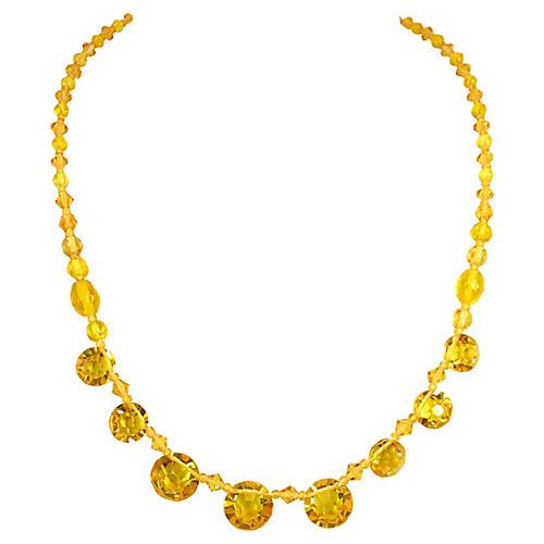 Edwardian Citrine Crystal Necklace
