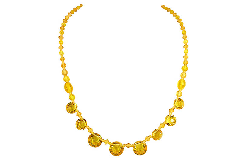 Edwardian Citrine Crystal Necklace, 1910