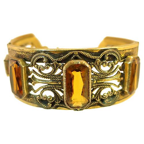 Victorian Gilded Amber Hinged Bracelet