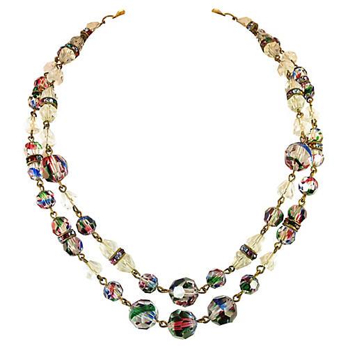 1960s Freirich Rainbow Crystal Necklace