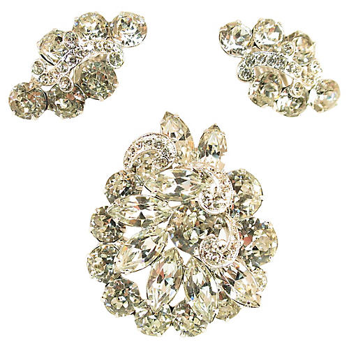 1950s Eisenberg Crystal Brooch Suite