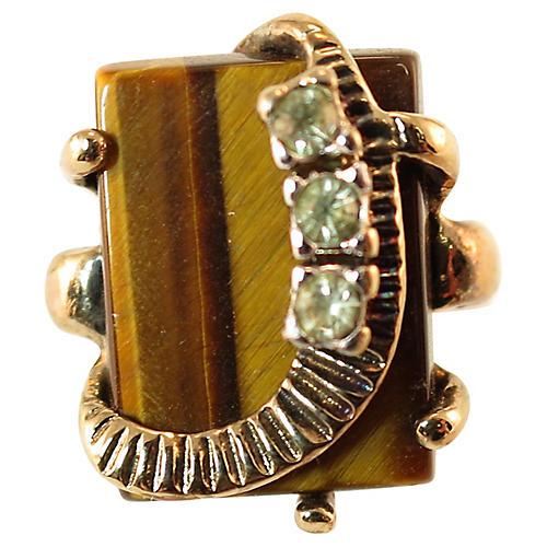 Uncas Modernist Tiger's Eye Ring