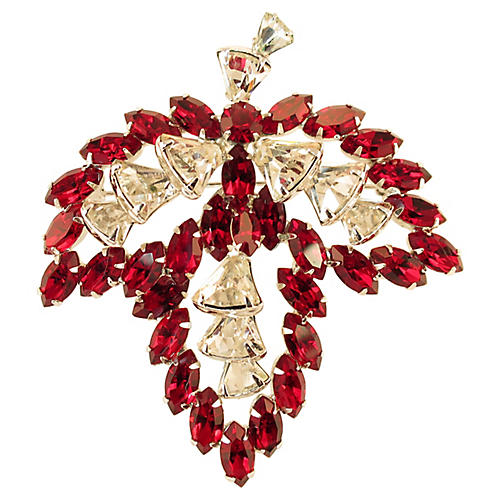 1950s Vendome Ruby Crystal Brooch