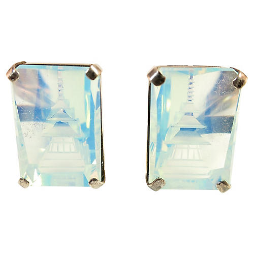 1940s Carved Opalescent Glass Cuff-links