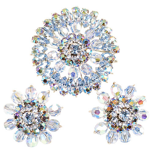 Austrian Blue Crystal Brooch Suite