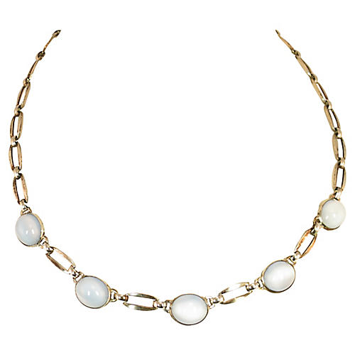 1920s WRE Sterling Moonstone Necklace