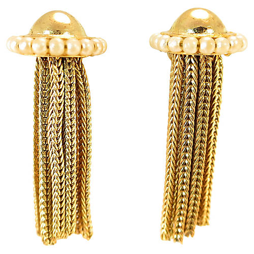 1930s Seed Pearl Mesh Dangle Earrings
