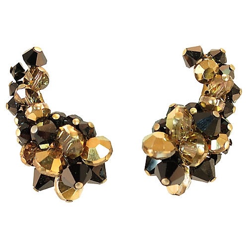 Hobé Black & Bronze Crystal Earrings