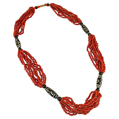 Coral & Trade Bead Necklace