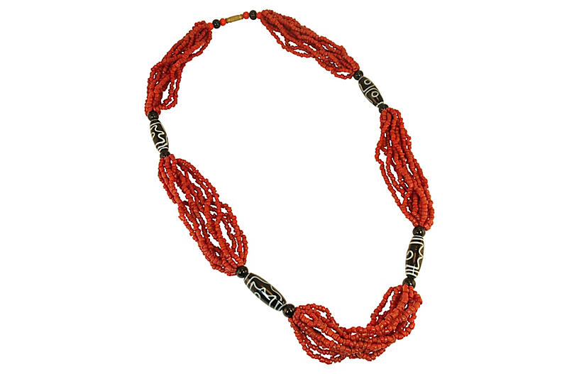 1960s Coral & Trade Bead Necklace