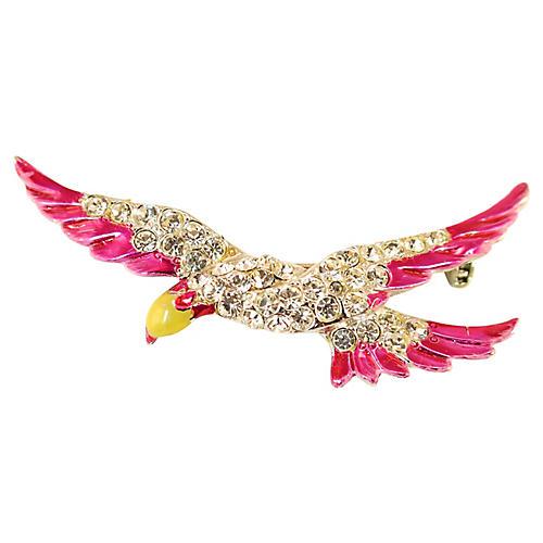 1940s Enameled Crystal Eagle Brooch