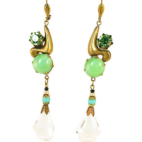 1920s Czech Green Crystal Earrings