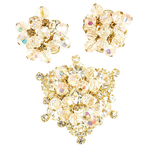 1960s Juliana Crystal Brooch Set