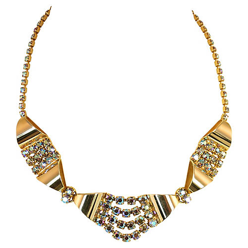 1950s Triad AB Crystal Necklace