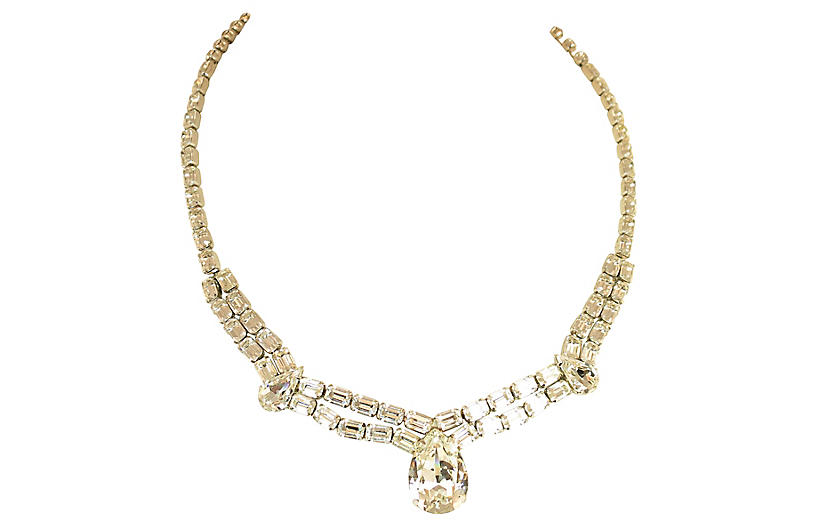 1950s Weiss Draping Crystal Necklace