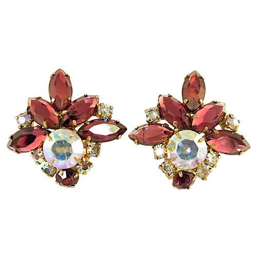 1950s Weiss Amethyst Crystal Earrings