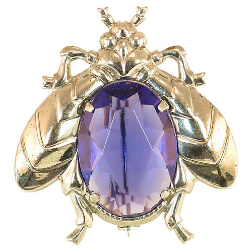 1930s Sterling Alexandrite Insect Brooch