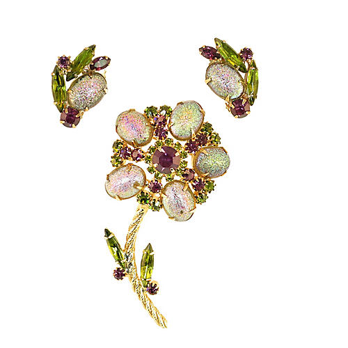 1960s Juliana Iridescent Brooch Suite