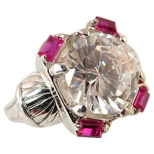 1970s White Topaz Ruby Ring