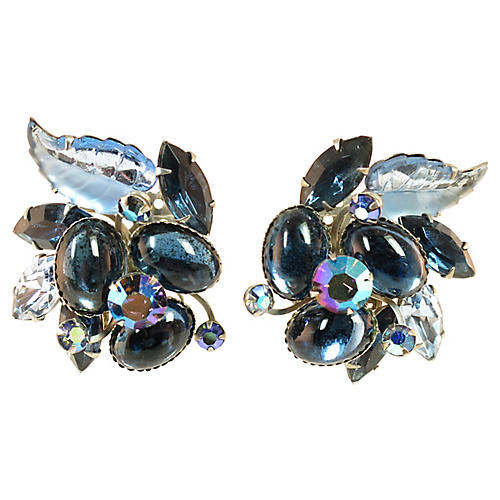 1950s BeauJewels Sapphire Glass Earrings