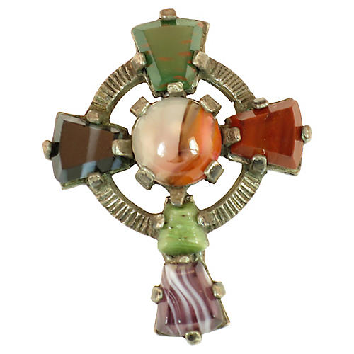 Miracle Celtic Cross Agate Brooch 1960s