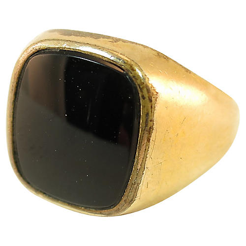 1920s Clark & Coombes Onyx Signet Ring