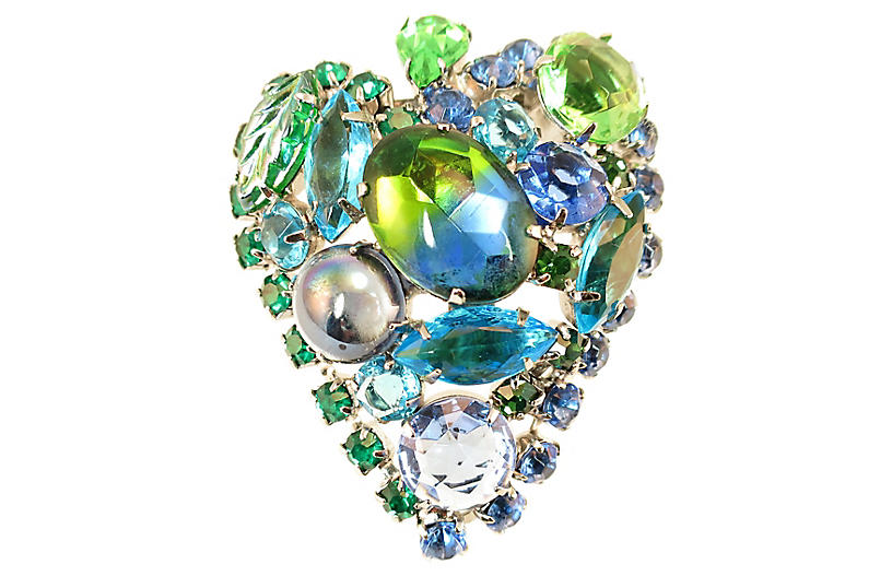 1960s Juliana Blue Green Crystal Brooch