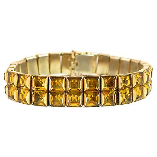 Art Deco Amber Crystal Bracelet 1930s