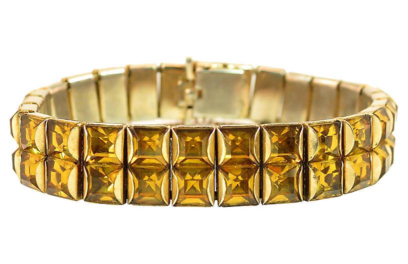 1930s Art Deco Amber Crystal Bracelet