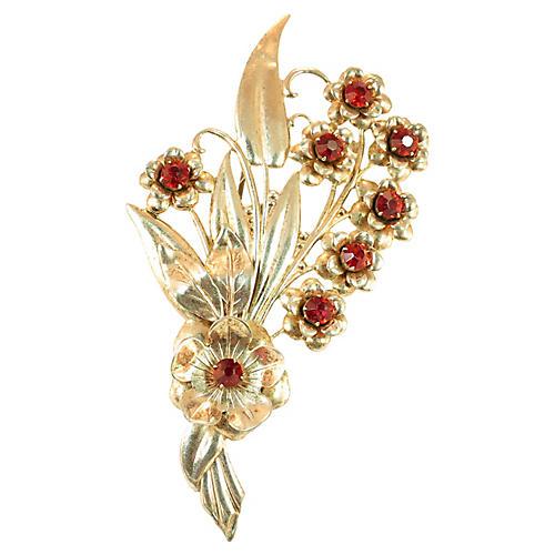 1920s Gilded Sterling Floral Brooch