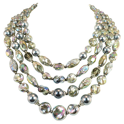 1960s Trifari Iridescent Beaded Necklace