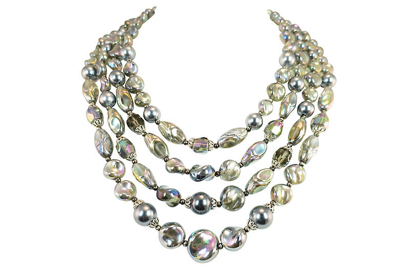 1960s Trifari Iridescent Bib Necklace