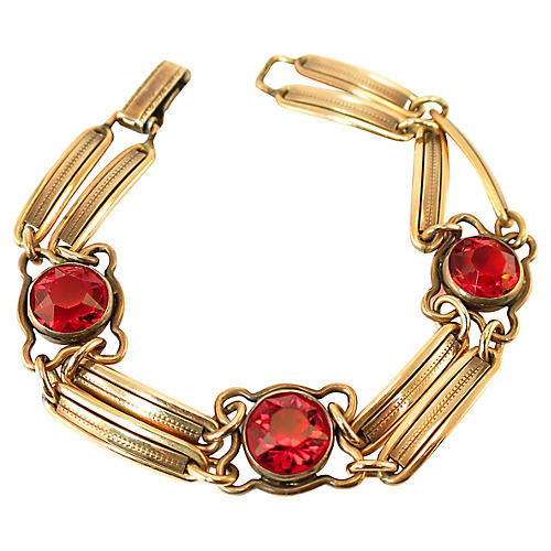 1920s Art Deco Ruby Crystal Bracelet