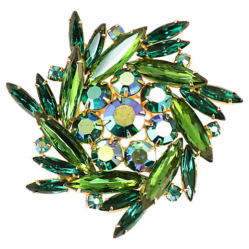 1950s Emerald Crystal Pinwheel Brooch