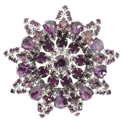 1950s Amethyst Crystal & Rhodium Brooch