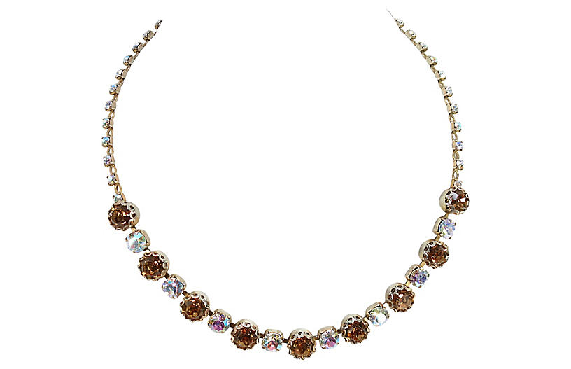 1950s Princess Amber Crystal Necklace