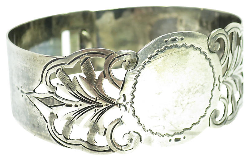 Victorian Sterling Latch Cuff Bracelet