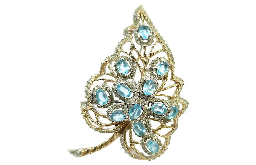 1940s Aqua Crystal & Rhodium Leaf Brooch