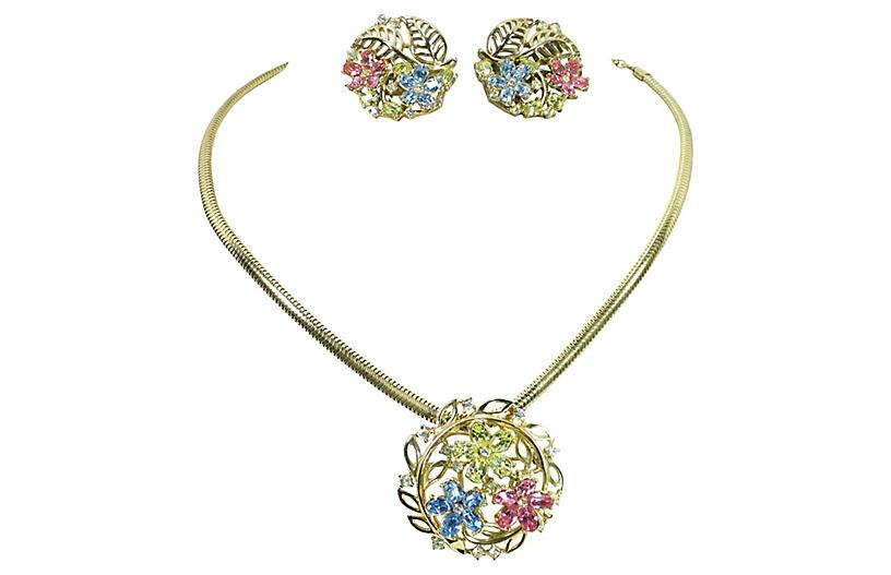 1950s Trifari Pastel Floral Necklace Set