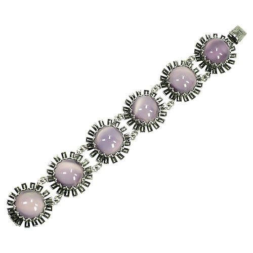 1940s Lavender Cat's Eye Glass Bracelet