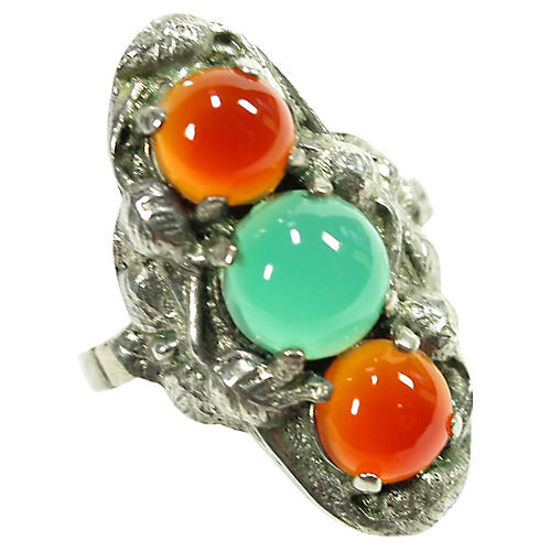 Arts & Crafts Carnelian Chrysoprase Ring