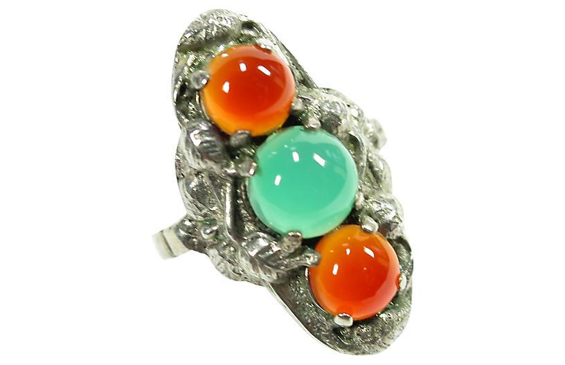 Arts & Crafts Carnelian Chrysoprase Ring