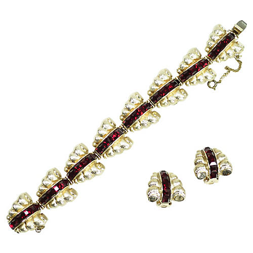 1950s Bergere Ruby Crystal Bracelet Set