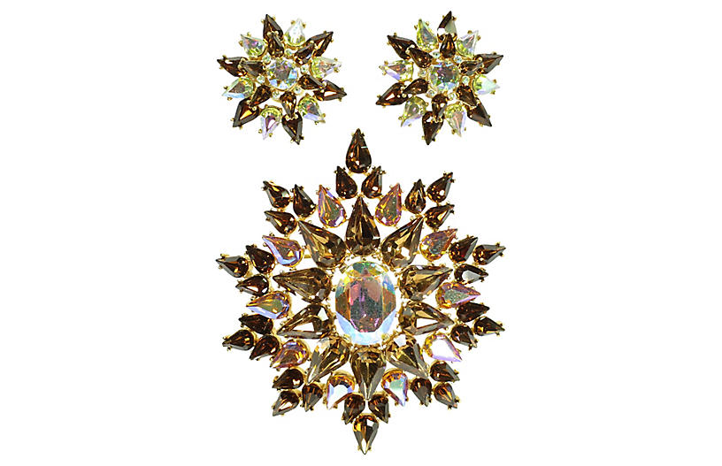 1950s Trifari Amber Brooch Earring Set