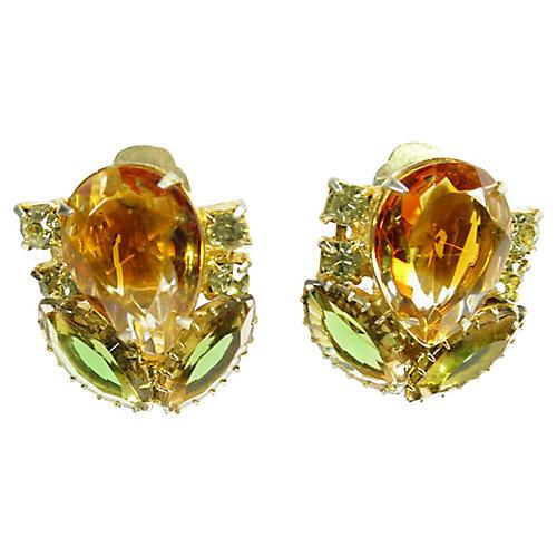 1950s Weiss Topaz Citrine Earrings