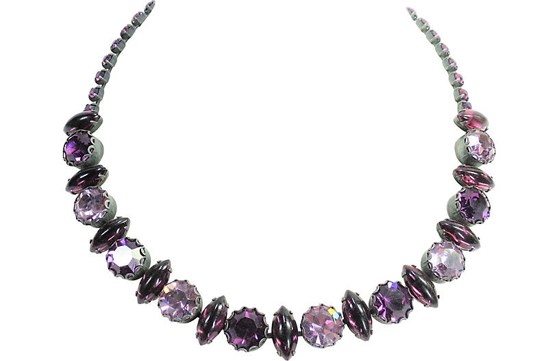 1950s Weiss Amethyst Crystal Necklace