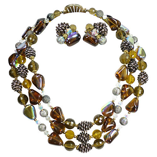 1950s Amber Art Glass Necklace Set