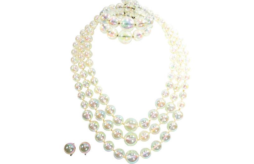 1950s Bubble Glass Necklace Bracelet Set